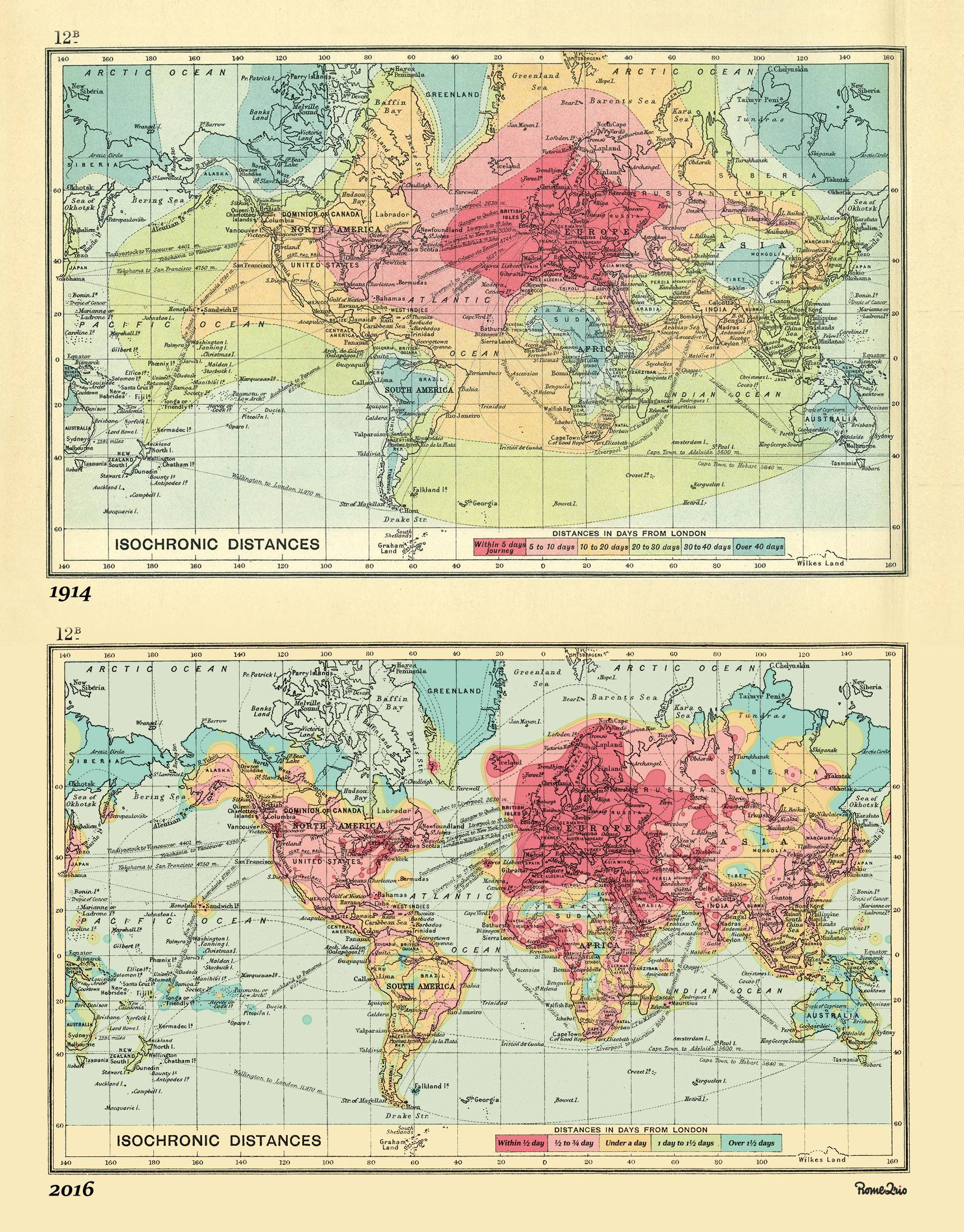 London Isochronic Travel Times 1914 and 2016